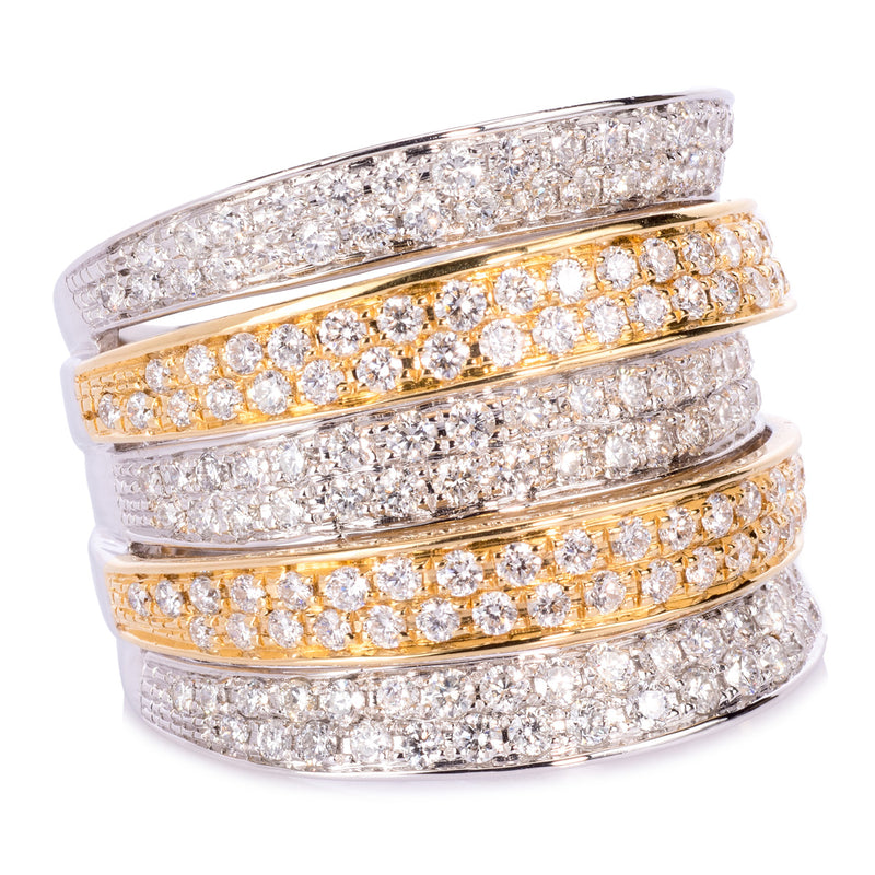 18ct White and Yellow Gold 5 Row Diamond Ring