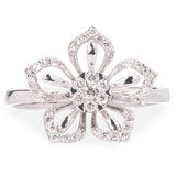 9ct White Gold Flower Diamond ring