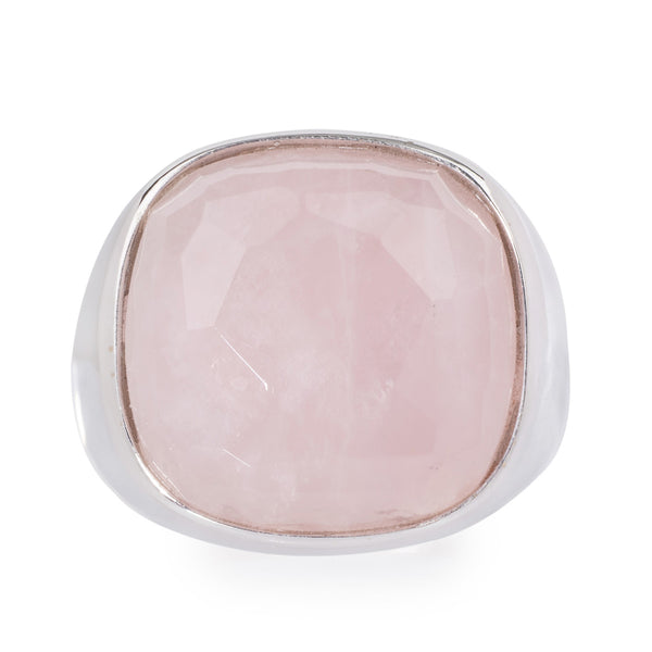 Pink Quartz White Gold Ring