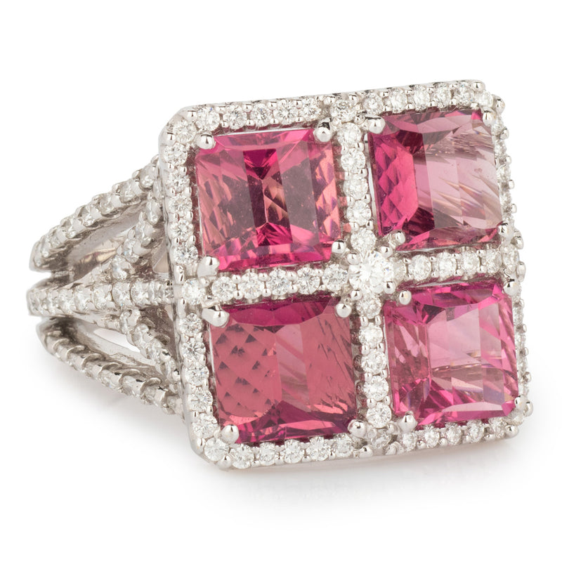 Pink Tourmaline and Diamond Gold Ring