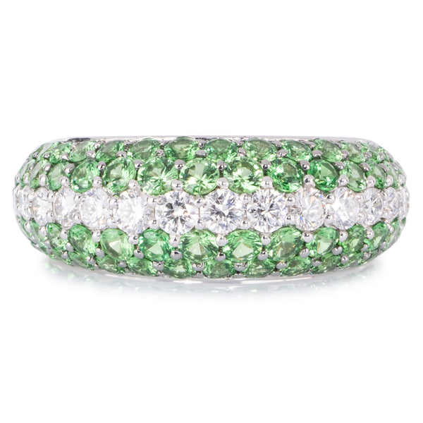 Diamond and Tsavorite Pave Ring in 18ct White Gold