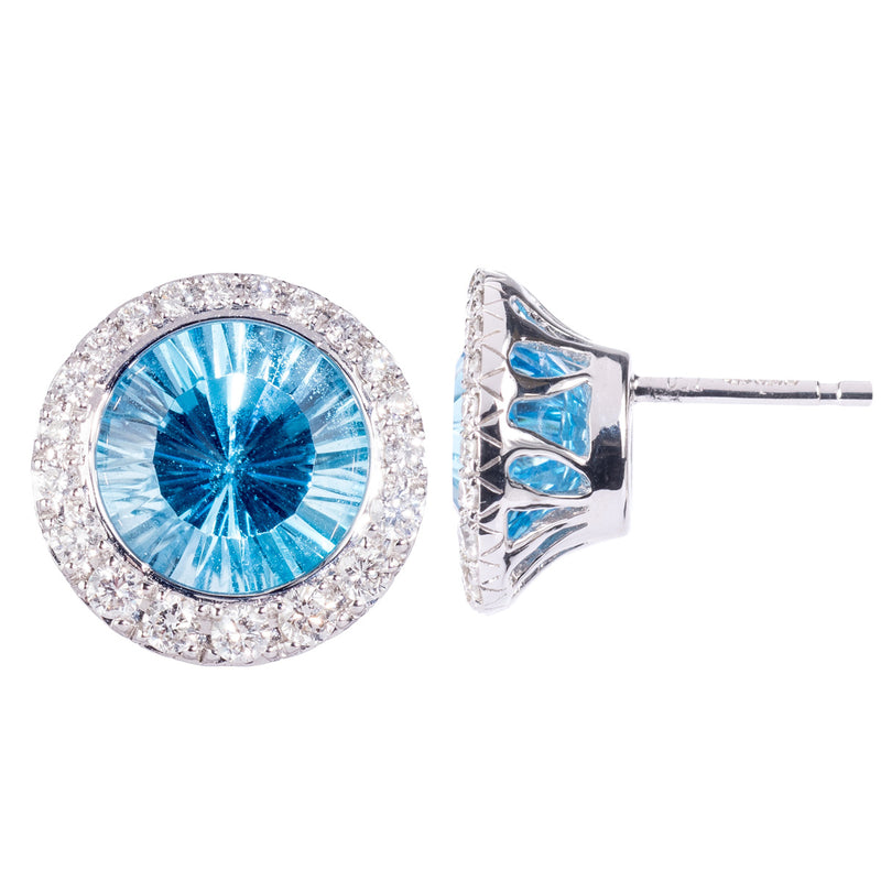 18ct White Gold Blue Topaz Stud Earrings