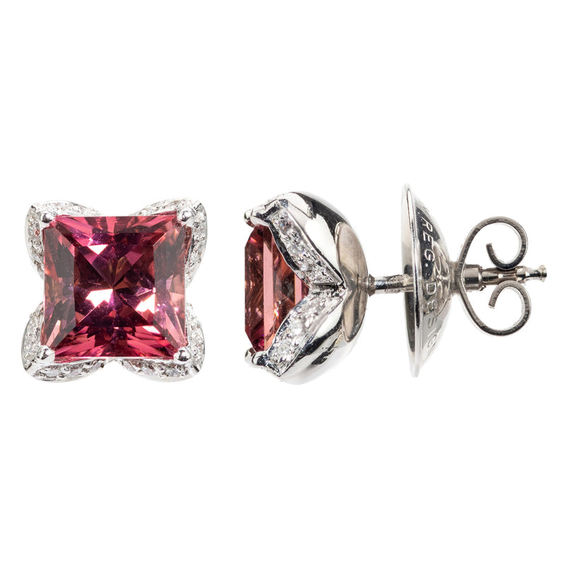 18ct Diamond Buchwald Tourmaline and Diamond Earrings