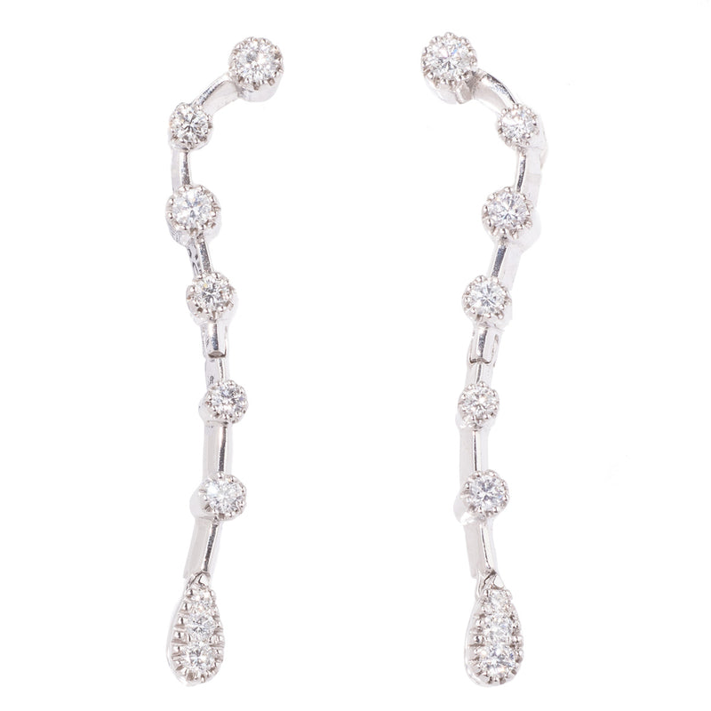 Diamond Drop 18ct White Gold Earrings