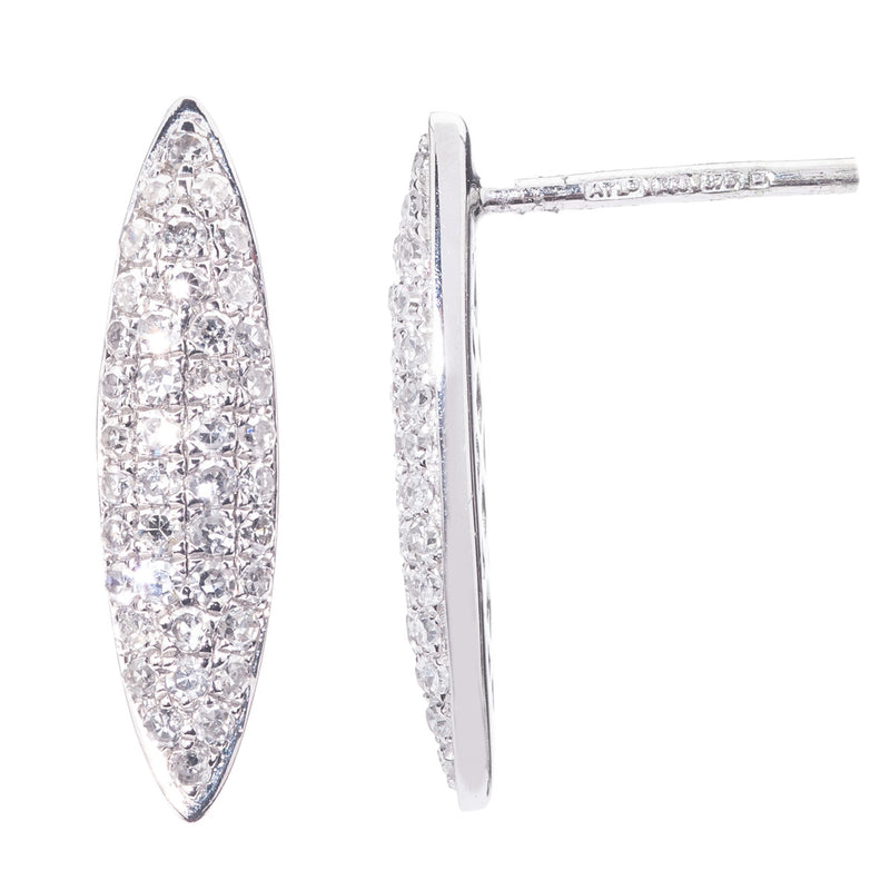 9ct White Gold Marquise Earrings
