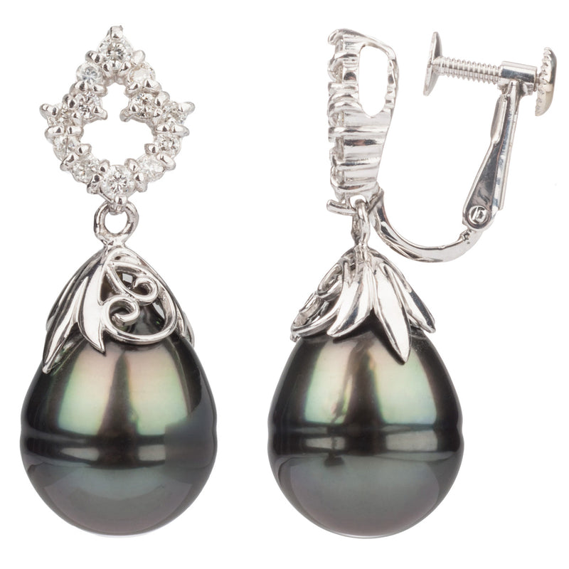 18ct Pearl & Diamond Drop Earring