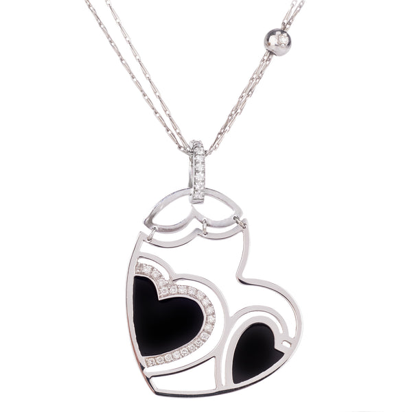 18ct White Gold Roberto Coin Heart Onyx & Diamond Pendant