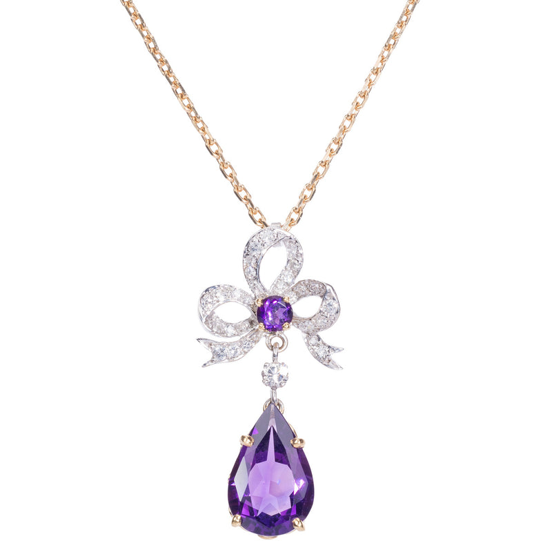 18ct Amethyst and Diamond Bow Pendant