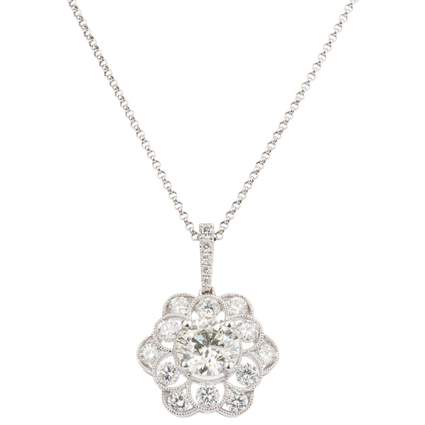 18ct Diamond Flower Cluster Pendant