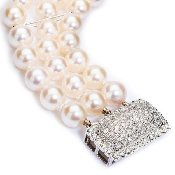 Pearl Bracelet 3 Row with Diamond Clasp