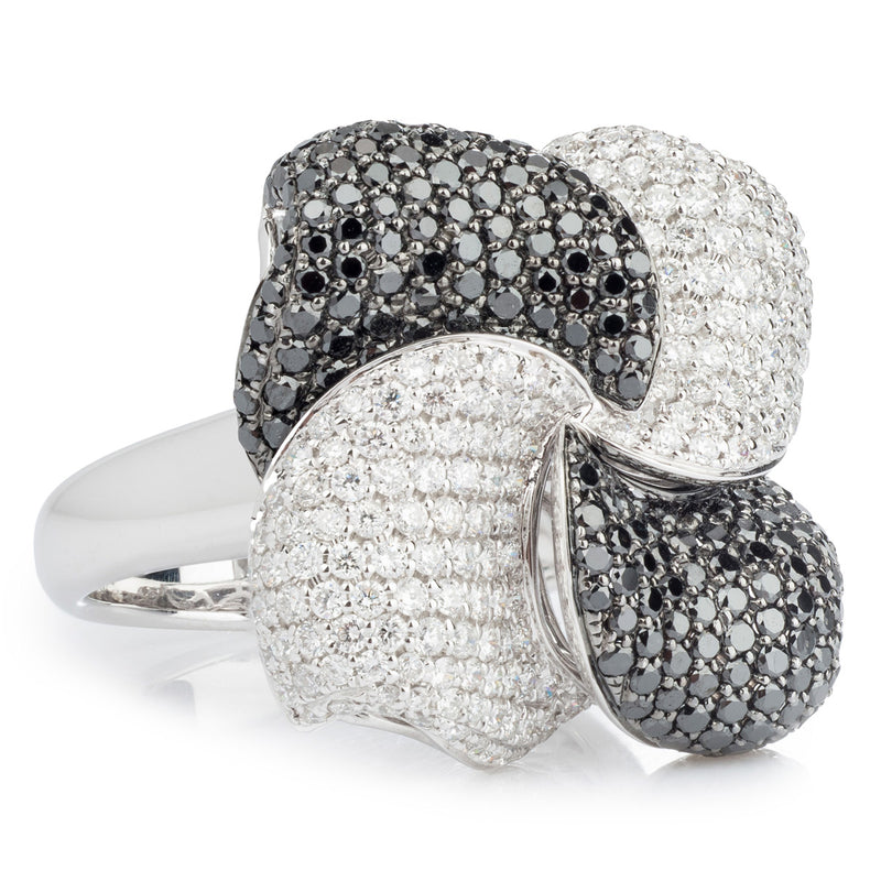 18ct Black and White Diamond Pave Flower ring