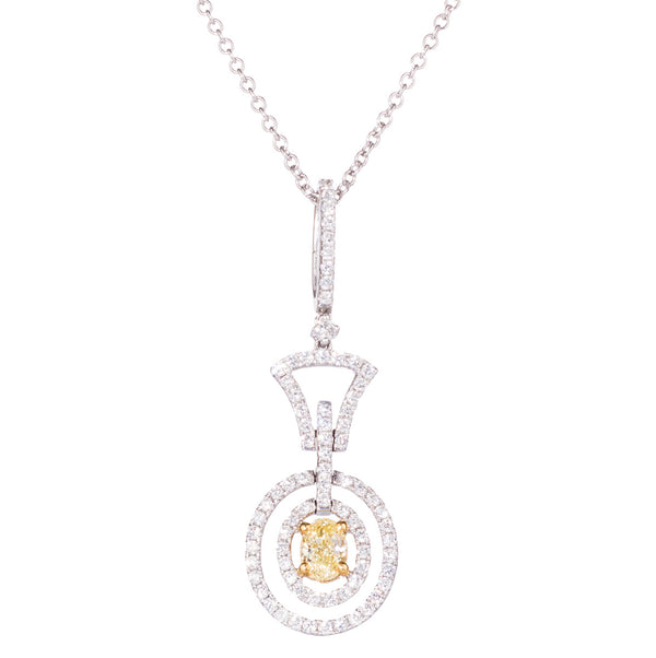 18ct White Gold Natural Yellow Diamond Pendant