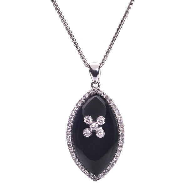 18ct White Gold Onyx & Diamond Pendant