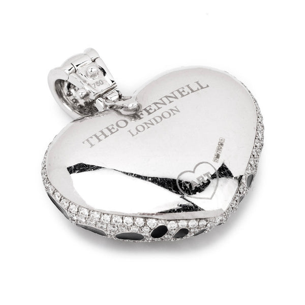 Theo Fennell 18ct White Gold Diamond and Black Enamel Heart Pendant