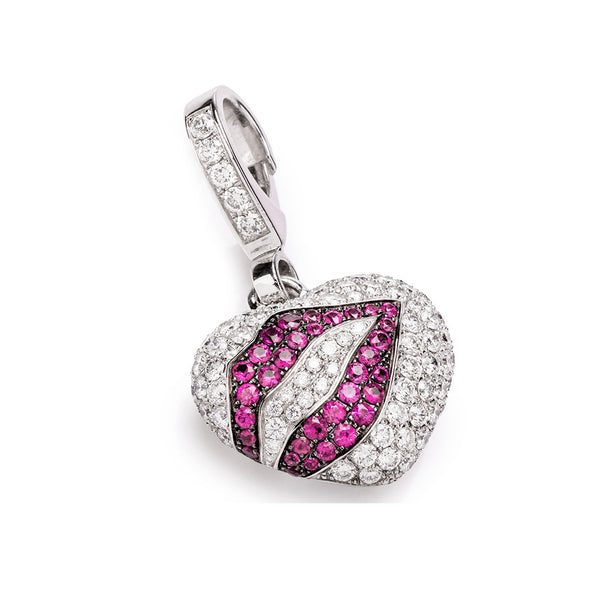 Theo Fennell Diamond Ruby Heart Lips Charm