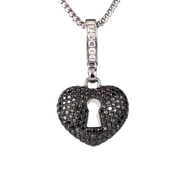 Theo Fennell 18ct White Gold Black Diamond Keyhole Pendant