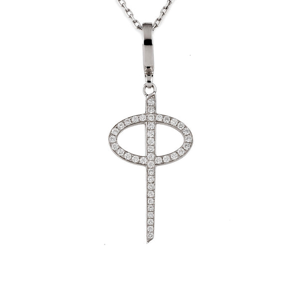 Theo Fennell 18ct White Gold Small Diamond Phi Pendant