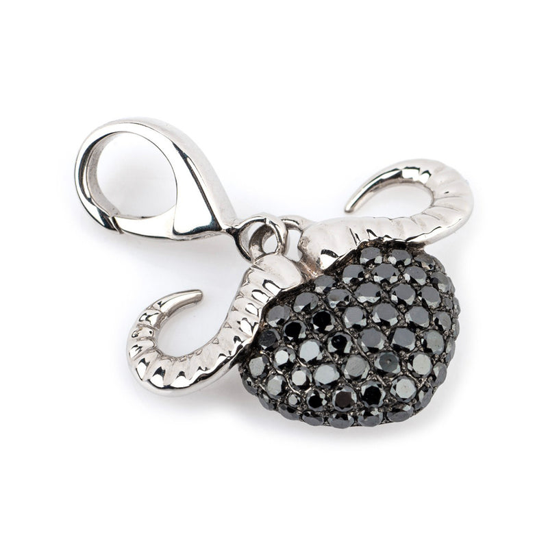 Theo Fennell 18ct White Gold Black Diamond Buffalo Charm