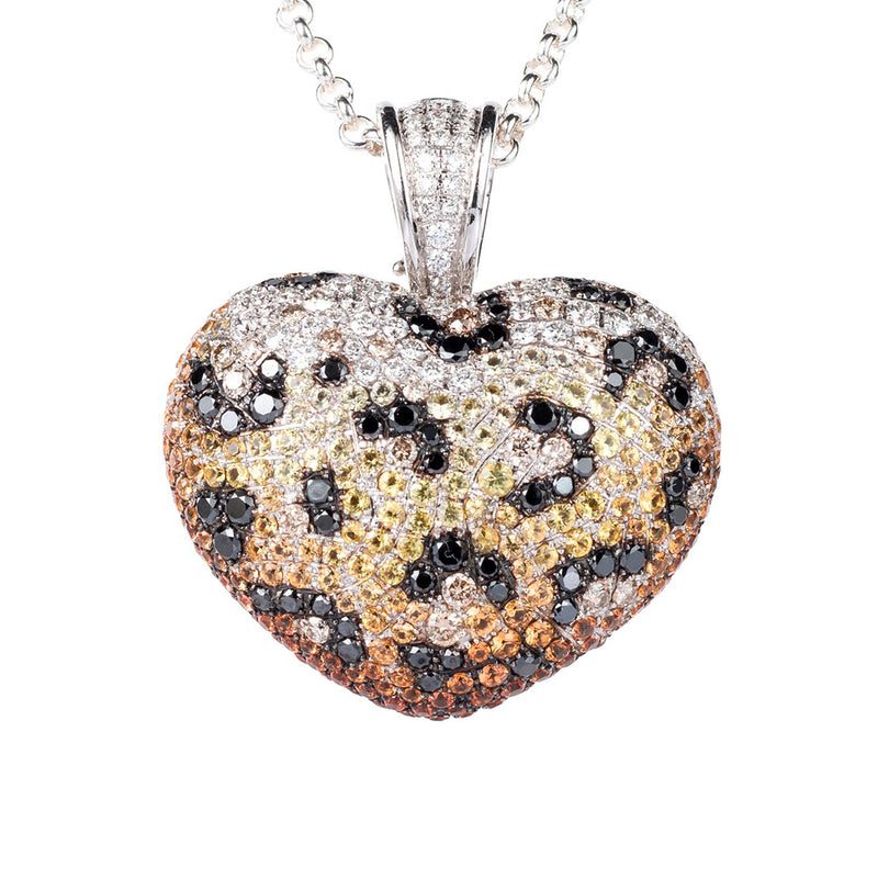 Theo Fennell Leopard Diamond and Sapphire Heart Pendant