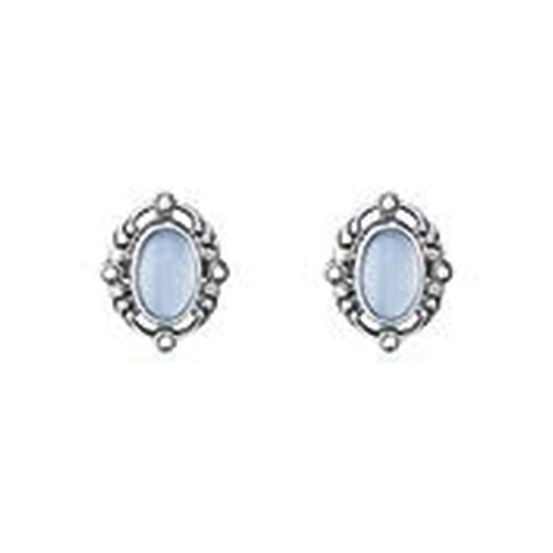 Georg Jensen Silver Heritage Blue Chalcedony Earrings