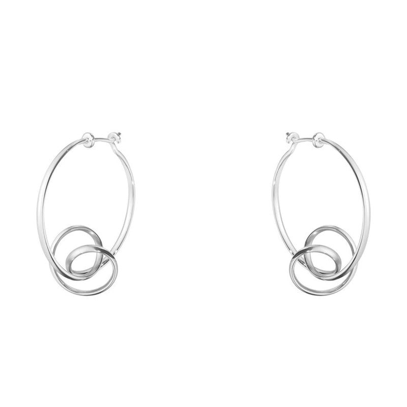 Georg Jensen Silver Forget-Me-Knot Hoop Earrings
