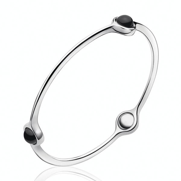 Georg Jensen Sphere Black Onyx Silver Bangle