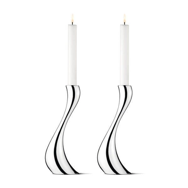Georg Jensen Stainless Steel Cobra Set of Two Candle Holders