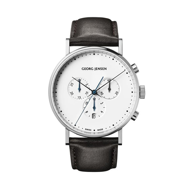 Georg Jensen Koppel Silver Chronograph Mens Watch