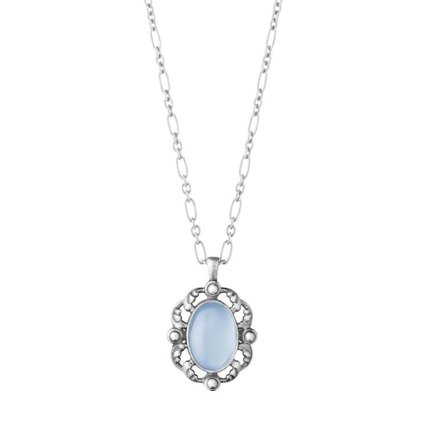 Georg Jensen Silver Blue Chalcedony Heritage Necklace