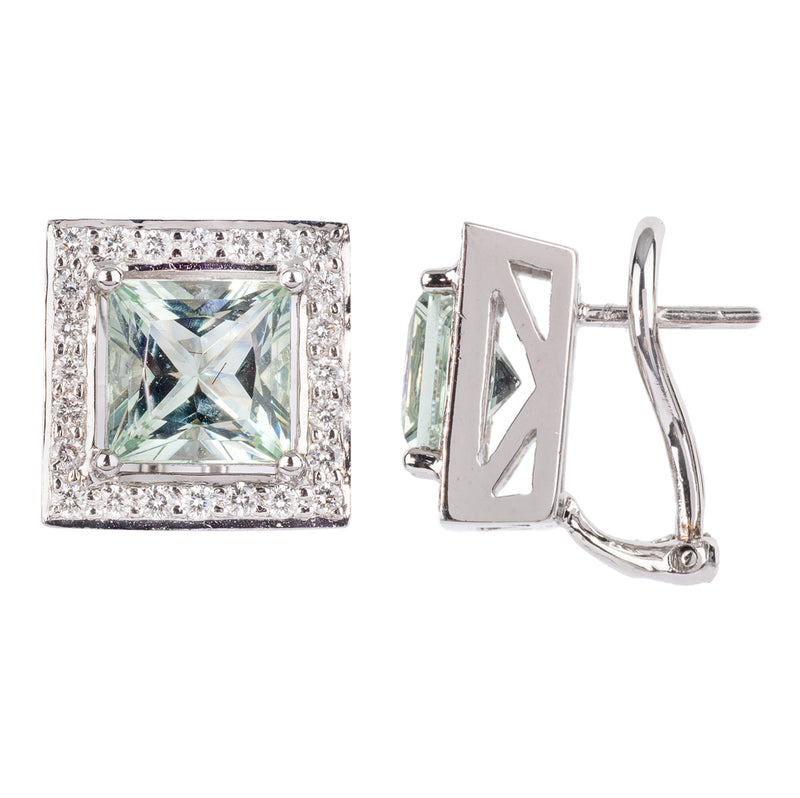 Green Beryl and Diamond Earrings