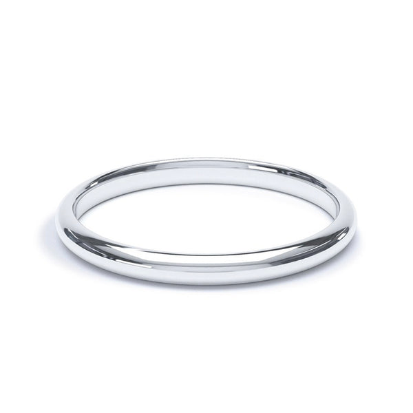 2.0mm Platinum Modern Court Band