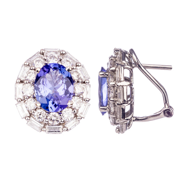 Tanzanite and Diamond White Gold Earrings