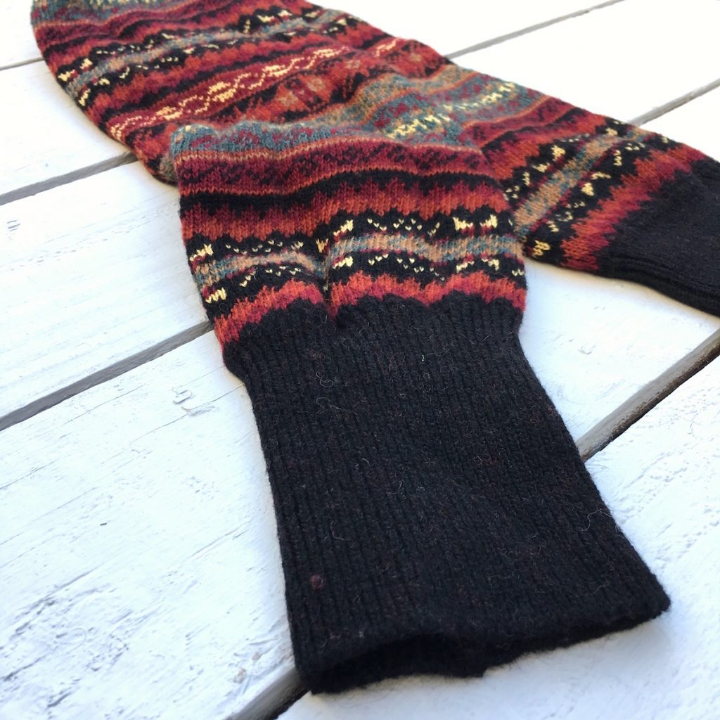 Fair Isle Bracken Black Leg Warmers - HOUNDWORTHY