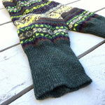 Fair Isle Bramble Green Leg Warmers - HOUNDWORTHY