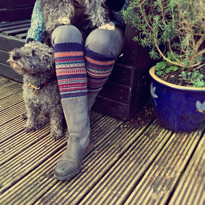Fair Isle Cornish Rockpool Blue Leg Warmers - HOUNDWORTHY