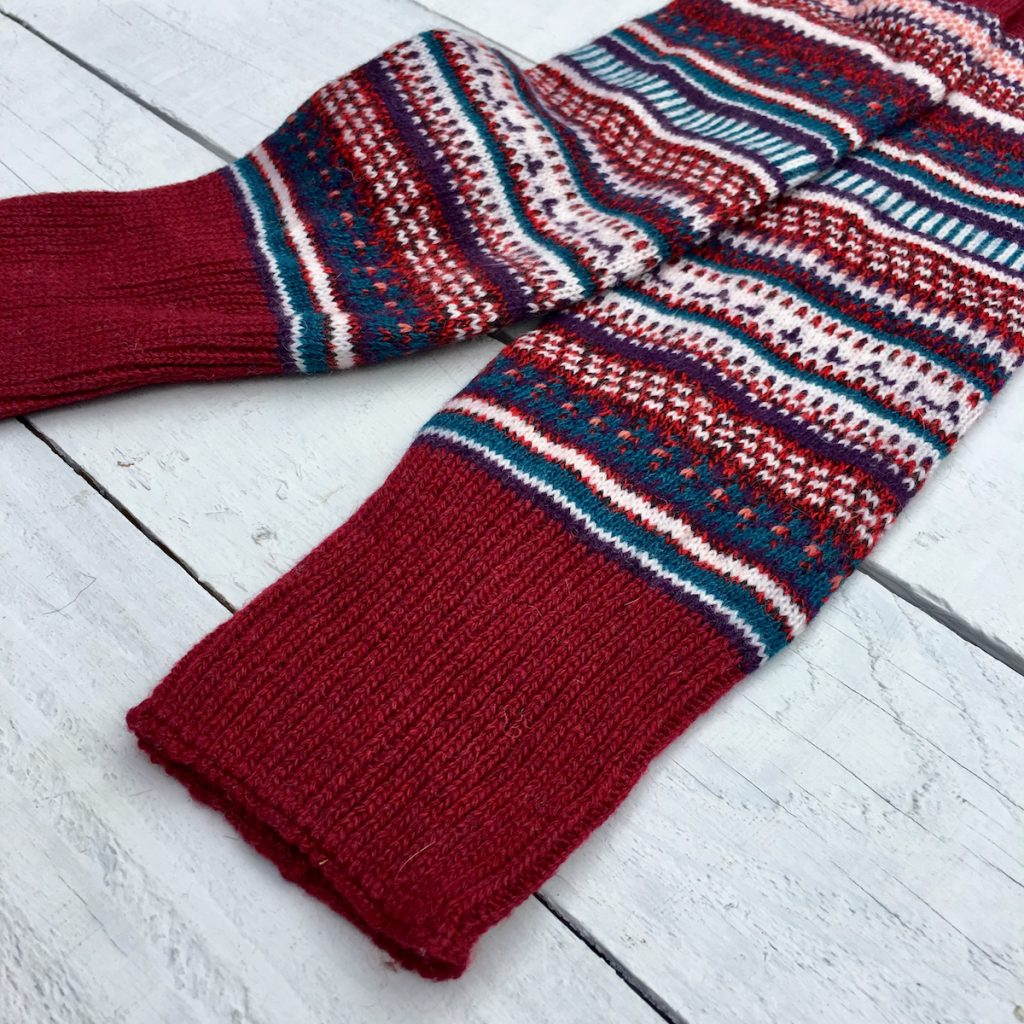 Fair Isle Autumn Cherry Leg Warmers - HOUNDWORTHY