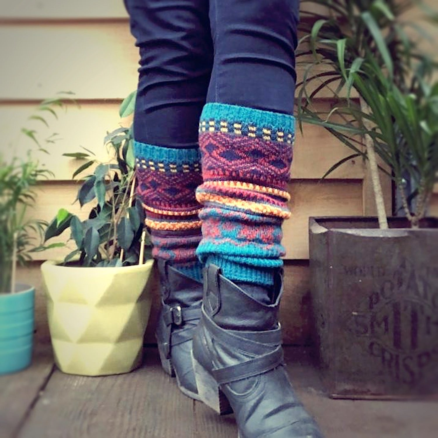 Fair Isle Bohemian Blue Leg Warmers - HOUNDWORTHY