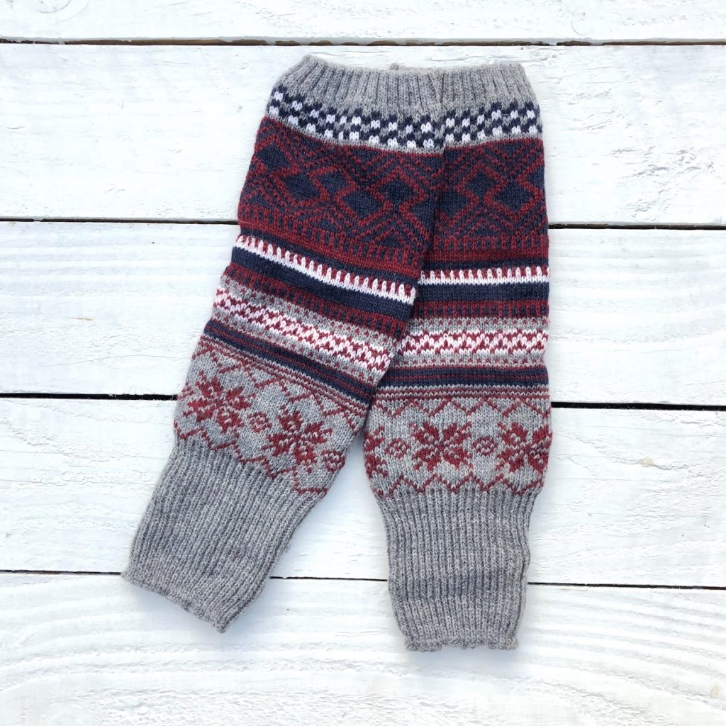 Fair Isle Bohemian Grey Leg Warmers - HOUNDWORTHY