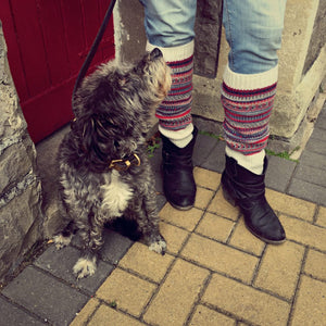 Fair Isle Norwegian White Leg Warmers - HOUNDWORTHY