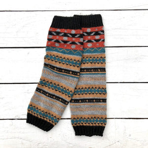 Fair Isle Patchwork Grey Leg Warmers - HOUNDWORTHY