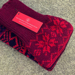 Fair Isle Ruby Red Leg Warmers - HOUNDWORTHY