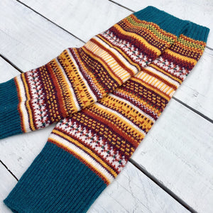 Fair Isle Winter Mustard Leg Warmers - HOUNDWORTHY