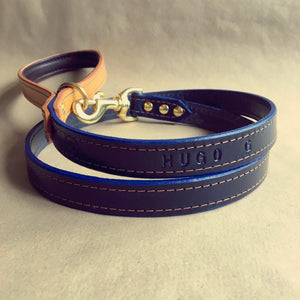 Monogram Blue Bridle Leather Dog Lead With Padded Handle - HOUNDWORTHY