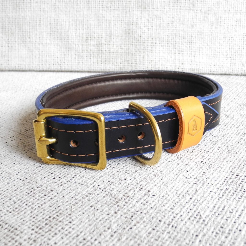 Luxury Blue Bridle Leather Dog Collar With Padded Lining