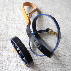 Monogram Blue Leather Dog Lead Personalised With Your Dog's Name - HOUNDWORTHY