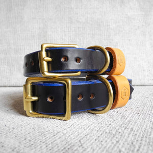 Monogram Blue Leather Dog Collar Personalised With Your Dog's Name - HOUNDWORTHY