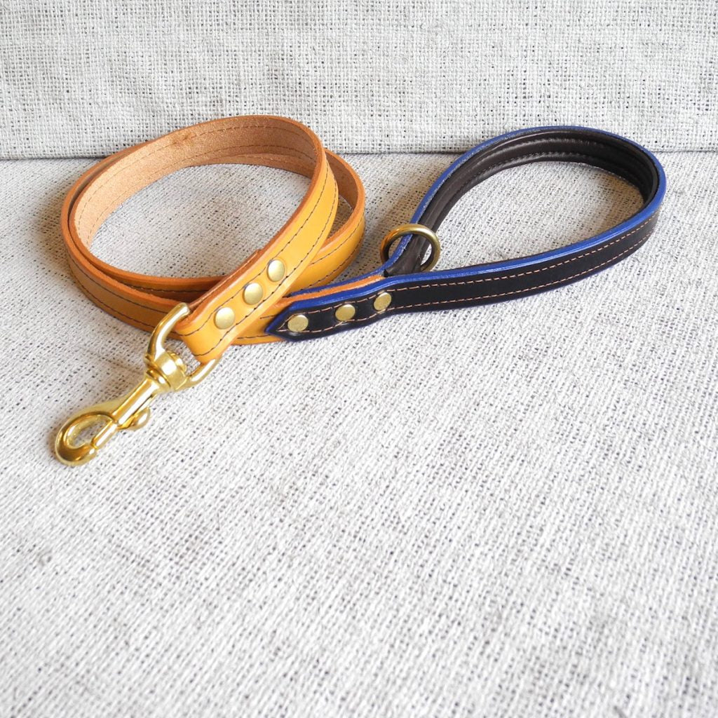 Tan Bridle Leather Dog Lead With Padded Handle - HOUNDWORTHY
