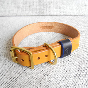 Monogram Tan Leather Dog Collar Personalised With Your Dog's Name - HOUNDWORTHY