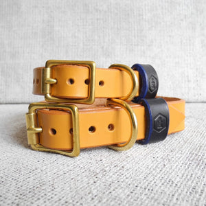 Tan Bridle Leather Dog Collar Plain - HOUNDWORTHY