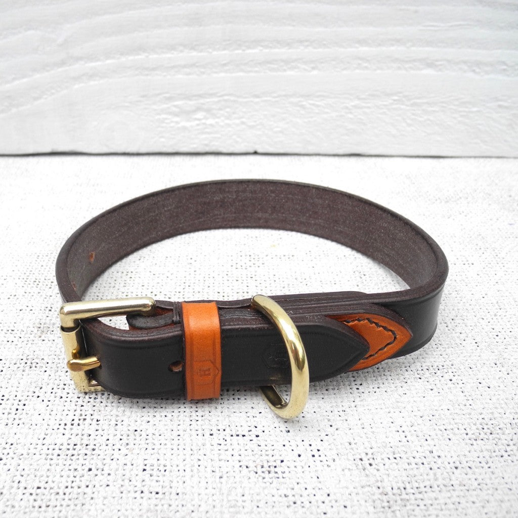 Dark Havana Brown Bridle Leather Dog Collar With Tan Loop - HOUNDWORTHY
